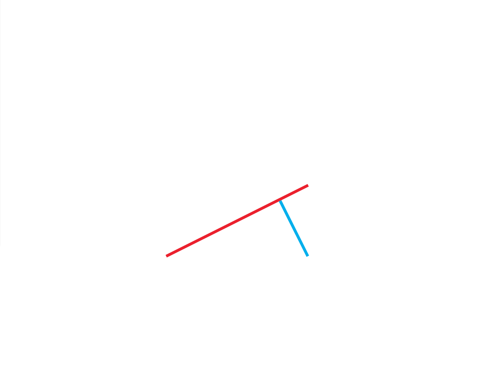 29 the invisible part of the composition tells the story of how the two red points will only be able to clearly communicate with the green line if this circle is located precisely where it can clearly connect these two red points to the green line