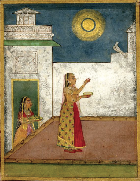 35 Woman Feeding a Bird in the Moonlight